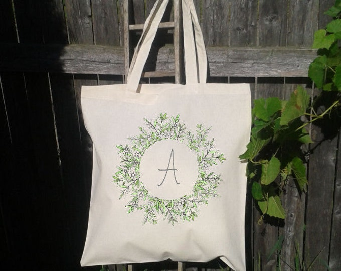 Wedding Tote Watercolor floral Wreath Wedding Welcome Tote -Bridesmaid Bag, Customized for FREE