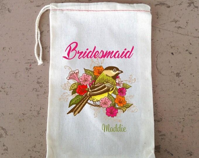Bridesmaid Favor,  Hangover Kit, Flower Girl Gift Bag, Hangover Kit, Drawstring Favor Bag, Birds with flowers Wedding