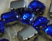 Sew On Rhinestones Crystal Cobalt Blue DIY Emerald Princess Cut Rectangle 8mm x 10mm 4 hole Montee Acrylic Pronged Flat Back Beads