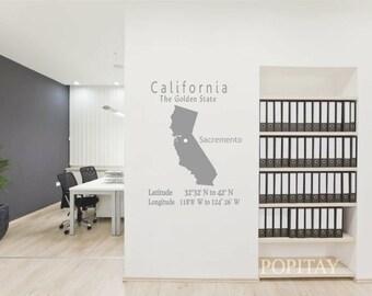 California Decal, California Map decal, California Longitude, The Golden State, California Decor, Sacremento map, Living Room Decor,