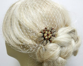 Birdcage Veil  and a Bridal Hair Comb (2 Items) Amber Champagne Topaz  Rhinestone Bridal Comb