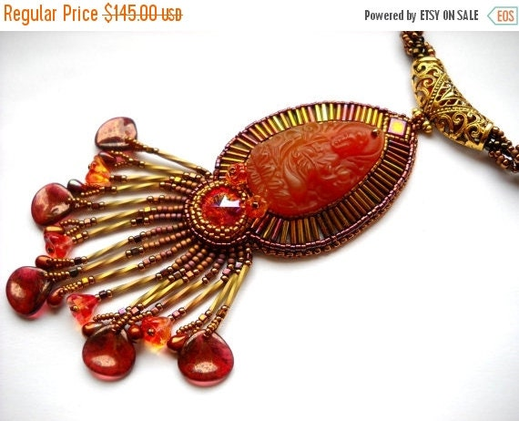 SPRING SALE 15% OFF Bead Embroidery necklace orange gold pink - Bead Embroidered