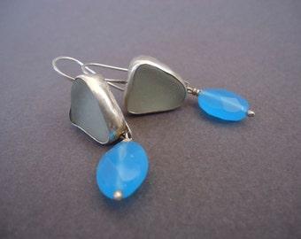 Gemstone and Sea Glass Earrings, Sterling Silver Earrings, Aqua Chalcedony Earrings, Statement Earrings