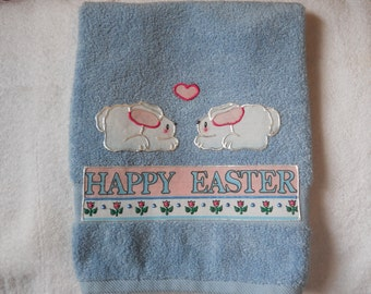 Easter Towel, Appliqued Easter Bathroom Towel, Easter Kitchen Towel, Happy Easter Towel, Blue Easter Towel, Easter Decoration, Bunny Towel