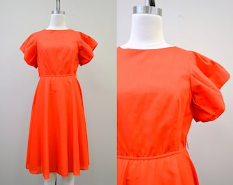1980s Christina Gallantes Red Full Sleeved Dress