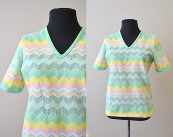 1970s Polyester Knit Mesh Shirt