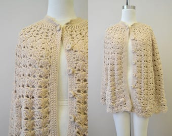 1970s Tan Crochet Sweater Cape