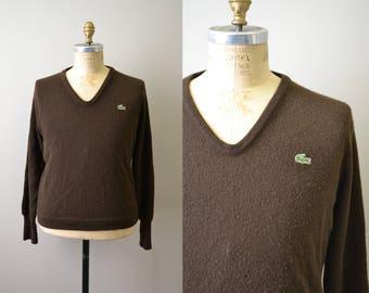 1970s Izod Lacoste Brown Men's Sweater
