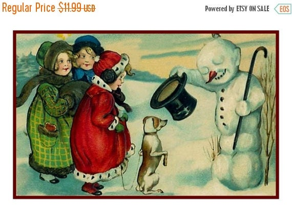 SPRING SALE A Christmas Snowman... Victorian Christmas Counted Cross Stitch Chart / Pattern from Antique Card  Free Shipping
