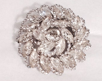 Vintage Weiss Rhinestone Brooch Wedding Jewelry Elegant Wedding Rare Beauty