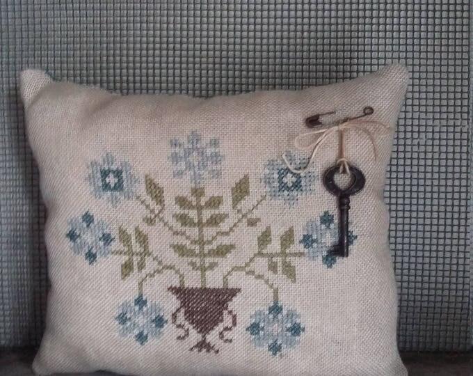 Primitive cross stitch sampler Blue Flower Urn cupboard tuck/pinkeep small pillow