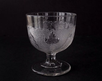 EAPG buttermilk goblet, sugar bowl, antique pressed glass, Stippled Grape & Festoon, Boston Sandwich flint glass, Victorian 1870s vintage