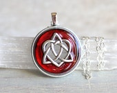 red celtic sister knot necklace, celtic heart, heart jewelry, wife gifts, unique gift, womans valentine necklace, romantic gift necklace