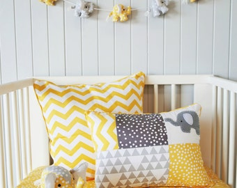 Yellow Chevron cushion cover ; yellow pillow, chevron,