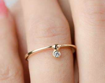 Minimal Floating Zirconia Ring, Gold Vermeil, Sterling Silver, Dainty Stackable Ring, Hand Made, Engagement Gift, Lunaijewelry, RNG035WCZ