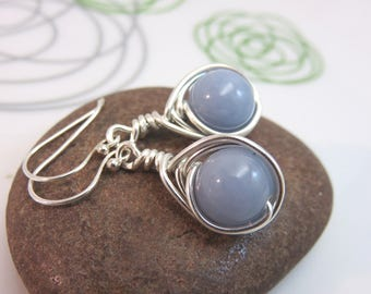 Angelite earrings -  sterling silver wire wrapped gemstone earrings  calming blue earrings - wire wrapped earrings Argentium earrings