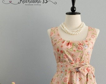 Christmas SALE My Lady - Pale Pink Floral Dress Spring Summer Sundress Pink Floral Bridesmaid Dresses Sweet Pink Floral Dress Floral Party P