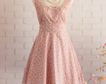 Pink dress Floral dress Pink sundress Floral summer dress Pink bridesmaid dresses Floral bridesmaid dress Pink party dress tea dress