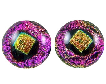 "Dichroic Dot Earrings- .5 inch 1/2"" 12mm - Hot Pink Magenta Orange Copper - Fused Glass - Post or Clip-on"