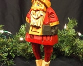 Hand Carved Santa in Red Coat and Hat with Black Belt and Mittens and Natural Trim