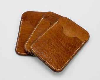 Simple Card Wallet - Shrunken Bison Leather - minimalist wallet - slim wallet