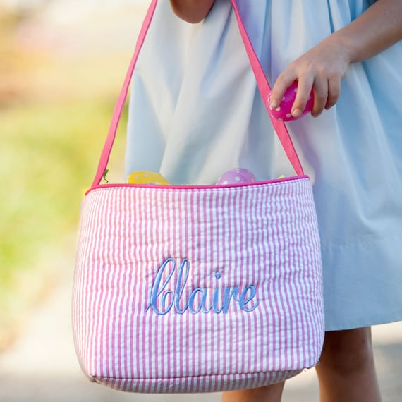 Monogrammed Seersucker Easter Baskets