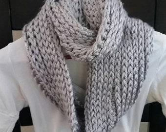 Infinity Scarf Cowl Neckwarmer silver grey knit crochet READY TO SHIP