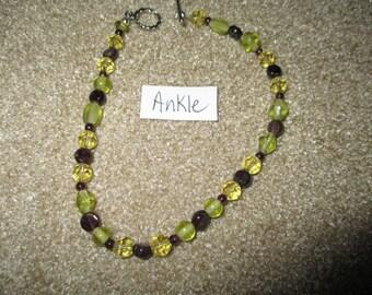 garnet and amber glass ankle bracelet