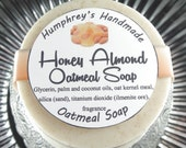HONEY ALMOND Oatmeal Soap, Tan Oatmeal Soap, Round Soap Puck, Exfoliating Mechanics Bar, Soft and Sudsy, Lots of Lather
