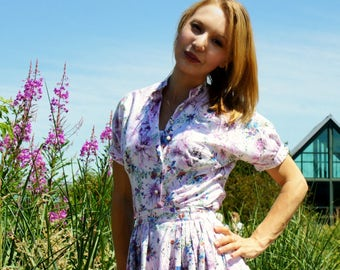 1950's Floral Shirt Dress Skirt Blouse