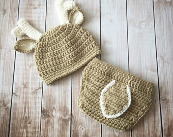 Little Mr. Deer Beanie and Matching Diaper Cover in Light Taupe and Ecru Available in Newborn to 24 Months Size- MADE TO ORDER