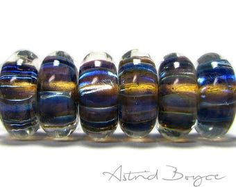 Paranormal Button Disks Artisan Lampwork Bead Set - Lovely Colors for Focus or Concentration - Blue Purple Silver Glass Shifting Refraction