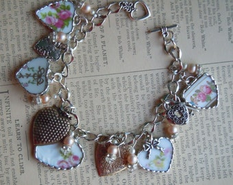 Fiona & The Fig Antique-Victorian-Broken China-Soldered  Charm Bracelet - Roses - Flowers-Jewelry