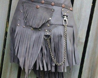 """20%OFF distressed leather festival belt with stud and chain detail...36"""" to 44"""" waist or hips.."""