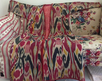 Gorgeous Old Uzbek Ikat Woven Coat. Linings are Terrific old Russian Floral Cottons. Great Colours.