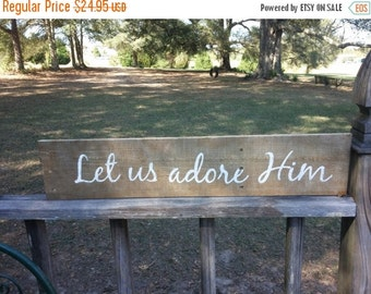 "Let Us Adore Him 26"" x 5.5"" Wooden Sign Joy to the World Christmas Decor Reclaimed Wood"