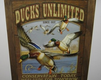 Framed  Tin Sign, ducks unlimited Conservation today,  ducks unlimited, man cave, USA, garage decor, wall hanging