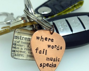 Bible Quote Guitar Pick, Church Band Guitar Pick Key Chain, Personalized Keychain, Gifts for Him and Her