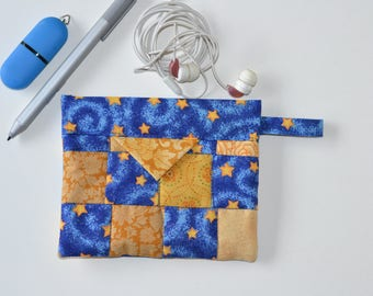 Cosmetic Pouch, Patchwork Quilted Jewellery Bag, Cotton Snap Pouch, Fabric bag, blue yellow