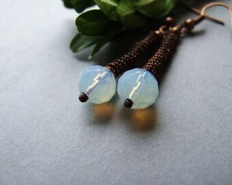 SALE Long Opal Earrings, Delicate Boho Opal Earrings, Milky Opal Jewelry, Woodland Copper Opal Earrings
