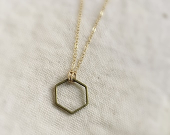 The hexagon (necklace) - Raw brass hexagon ring on 14K Gold Filled