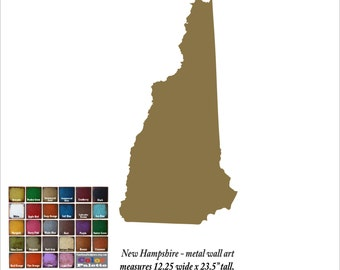 "New Hampshire map metal wall art - 18"" tall NH decor - choose your color - USA state wall art - New Hampshire map - Manchester Nashua Dover"