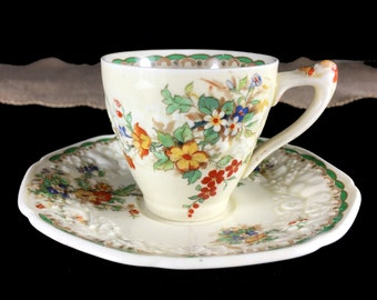"DEMITASSE Crown Ducal Teacup and Saucer, ""Florentine"" Embossed English Tea Cup 13828"