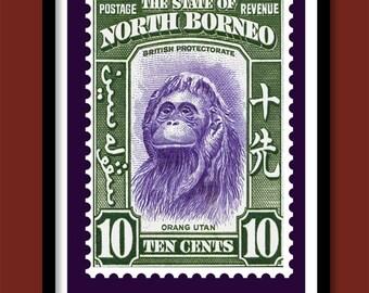 Orangutan Poster . Vintage Postage Stamp Print A3 size . Wildlife poster. Vintage Stamp Art print
