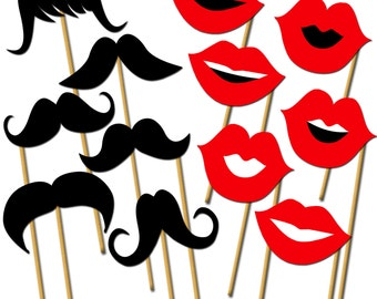 Lips and Mustaches Photo Props, Printable Photo Booth Props, Wedding Party Props, Mustaches on a Stick, Little Man Party - DP413