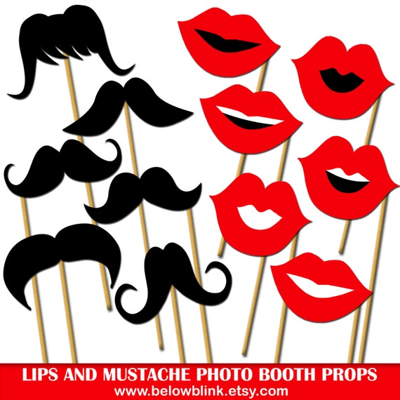 lips and mustaches photo props printable photo booth props wedding