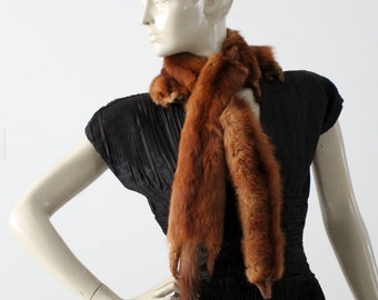 1940s mink scarf, vintage 3 pelt milk stole wrap