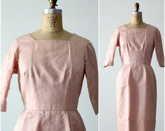 SALE vintage 60s satin brocade wiggle dress, pink pencil dress