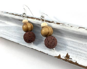 Wood and Lava oil diffuser earrings