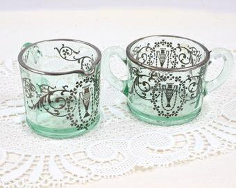 Sterling and Green Glass Sugar Creamer Set, Grecian Urn & Scroll Design, Vintage Sugar Bowl, Vintage Creamer, Silver Overlay, c. 1920s